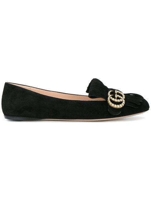 c168e02c2364 Gucci Marmont Fringed Ballet Flats In Black | ModeSens