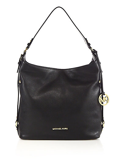Michael Michael Kors Large Leather Hobo Bag In Black