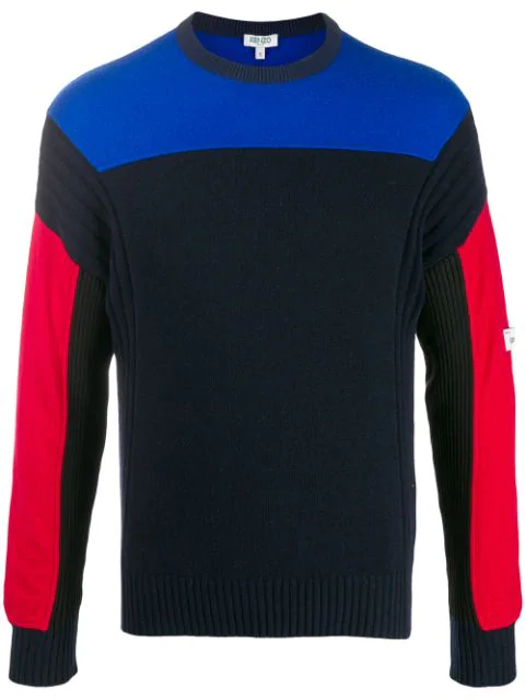 Kenzo Colour Block Knitted Sweater In Blue