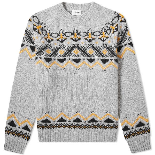 Wood Wood Gunther Fair Isle Sweater In Grey