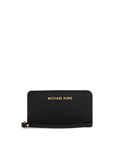 Michael Michael Kors Slim Jet Set Tech Wristlet In Black
