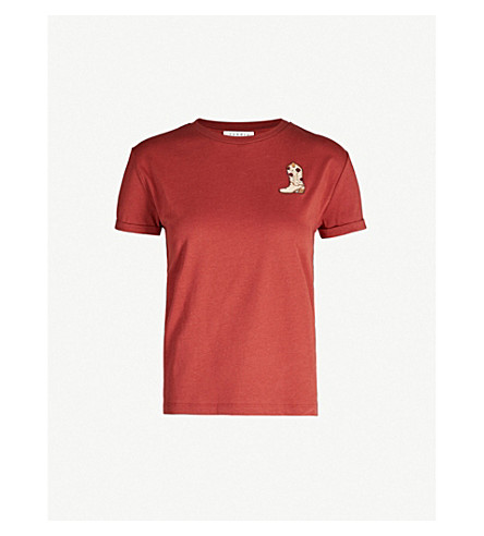 Sandro Embroidered Cotton-jersey T-shirt In Bordeaux