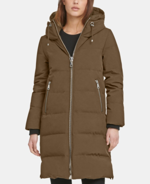 Dkny Zip Front Hooded Down Puffer Coat In Army Green