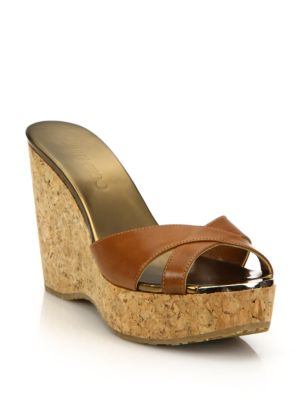03338610419 Jimmy Choo Leather   Cork Platform Wedge Sandals In Canyon