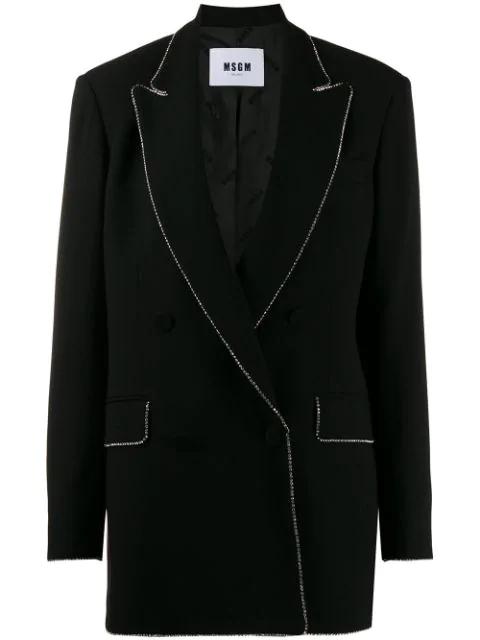 Msgm Crystal-embellished Oversized Blazer In Black