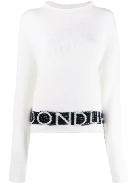 Dondup White & Black Wool-cashmere Blend Jumper