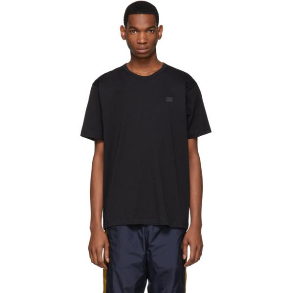 Acne Studios Nash Face-appliqué Organic-cotton T-shirt In Black