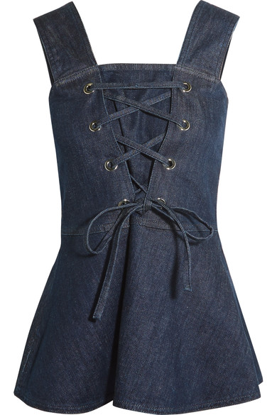 See By ChloÉ Lace-up Denim Peplum Top In Blue