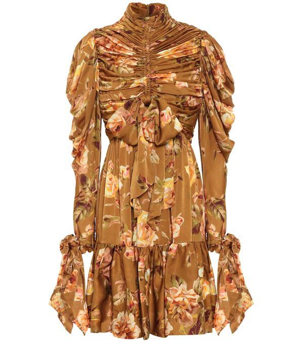 Zimmermann Resistance Bow-detailed Ruched Floral-print Silk-satin Mini Dress In Brown