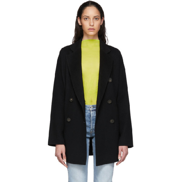 Acne Studios Odine Double-breasted Wool Peacoat In Black