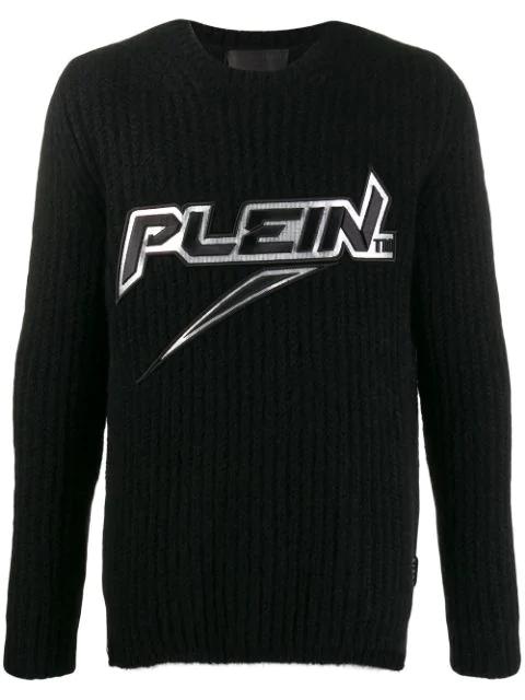 Philipp Plein Logo Knitted Jumper In Black