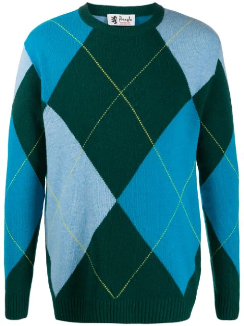 Pringle Of Scotland Reissued Argyle Knitted Jumper In Green