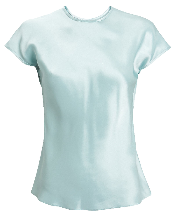 Helmut Lang Double Satin Cap-sleeve Top In Blue-lt