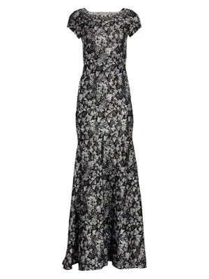 Theia Women's Cloqué Trumpet Gown In Antique Silver