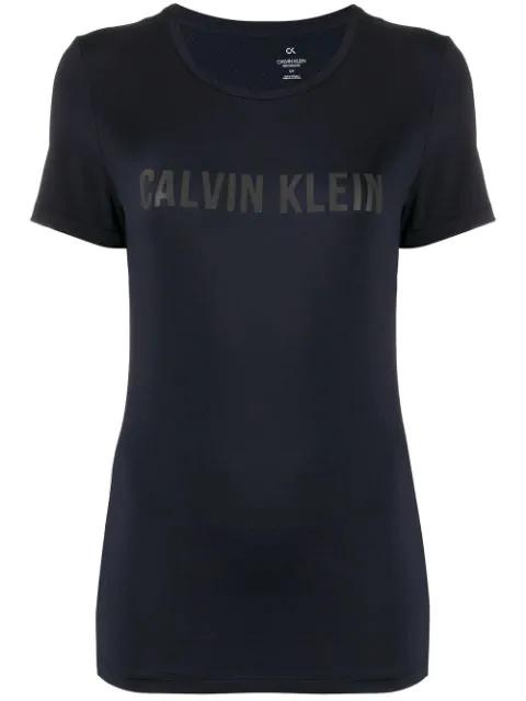 Calvin Klein Mesh Panel Logo T In Blue