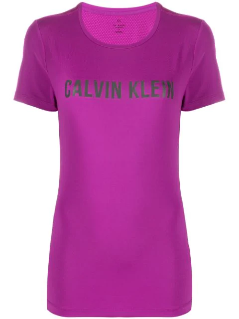 Calvin Klein Logo Print T In 511 Purple Cactus Flower