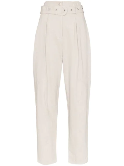 Low Classic Belted High-rise Trousers In Grey