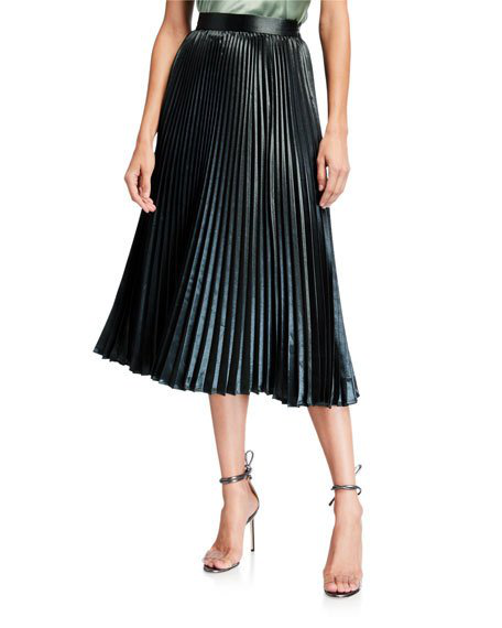 Elie Tahari Sue Pleated A-Line Midi Skirt In Dark Green