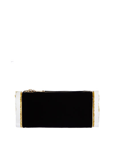 Edie Parker Lara Velvet And Glittered Acrylic Box Clutch In Black