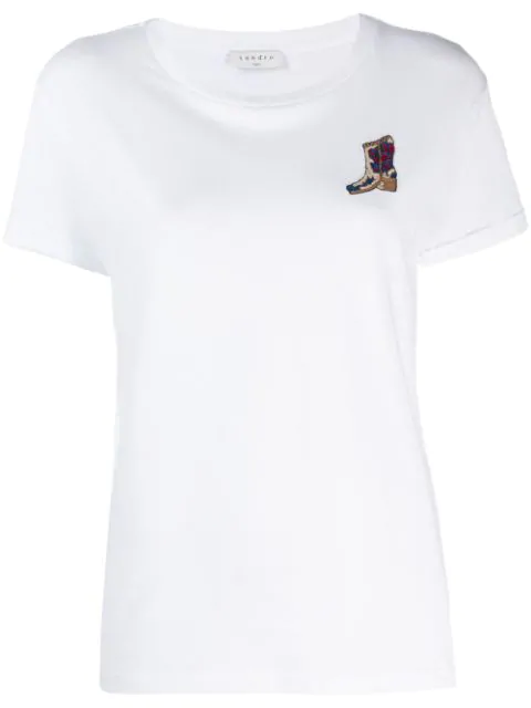 Sandro Embroidered Patch T-shirt In Blanc