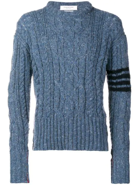 Thom Browne 4-Bar Aran Cable Donegal Pullover In 450 Blue