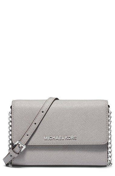 42a9fbb419d4 Michael Michael Kors Jet Set Travel Large Saffiano Leather Smartphone  Crossbody Bag In Pearl Grey