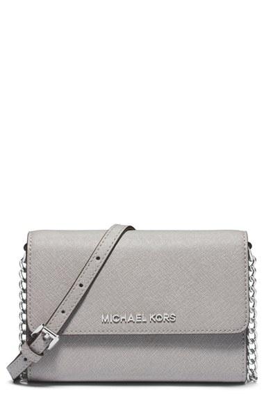 26ef663d1fb44f Michael Michael Kors Jet Set Travel Large Saffiano Leather Smartphone  Crossbody Bag In Pearl Grey