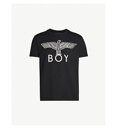 Boy London Metallic Logo-Print Cotton-Jersey T-Shirt In Black/White