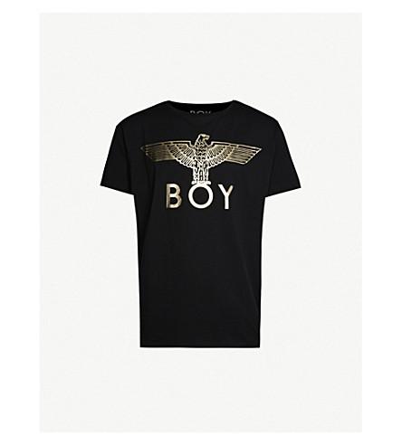 Boy London Metallic Logo-Print Cotton-Jersey T-Shirt In Black/Gold