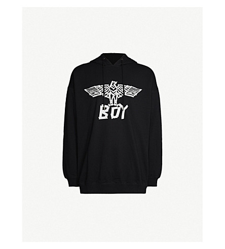 Boy London Logo-Print Cotton-Jersey Hoody In Black/White