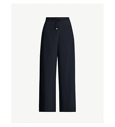 Max Mara Sultano Wide High-Rise Silk Trousers In Navy