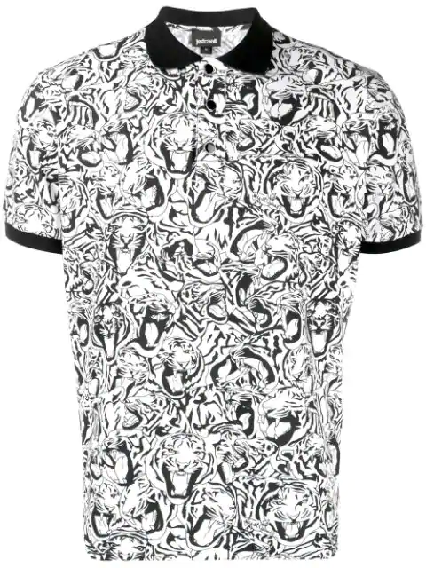 Just Cavalli Men's Tiger Crowd Graphic Pique Polo Shirt In White