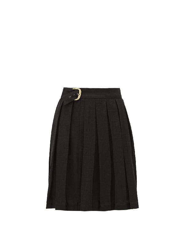 Art School Belted Pleated-linen Skirt In Black
