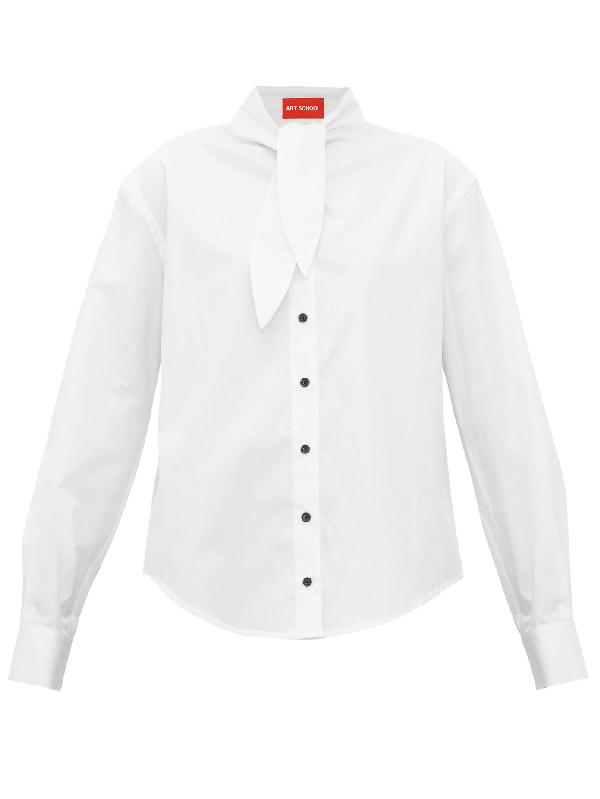 Art School Hunter Necktie Cotton-poplin Shirt In White