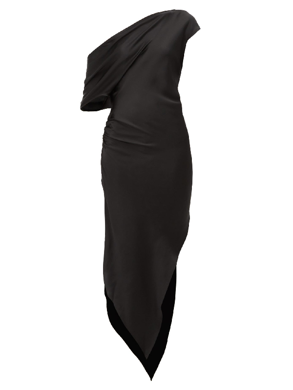 Art School Dagger Asymmetric Silk-satin Dress In Black