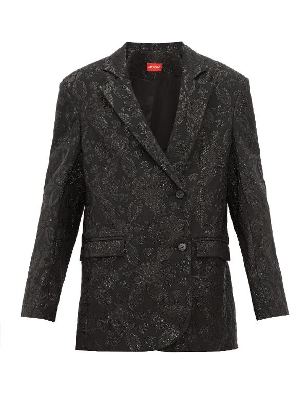 Art School Oversized Floral-brocade Jacket In Black