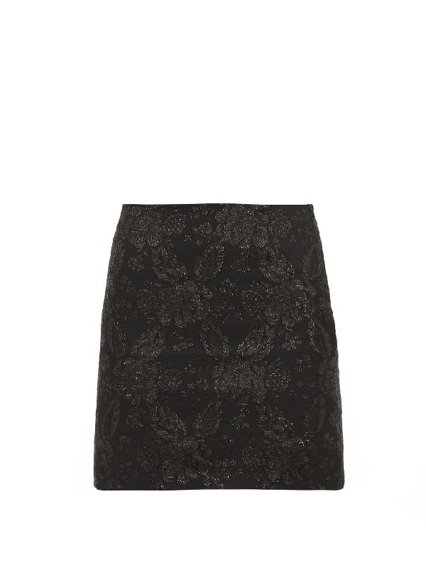 Art School Floral-brocade Mini Skirt In Black
