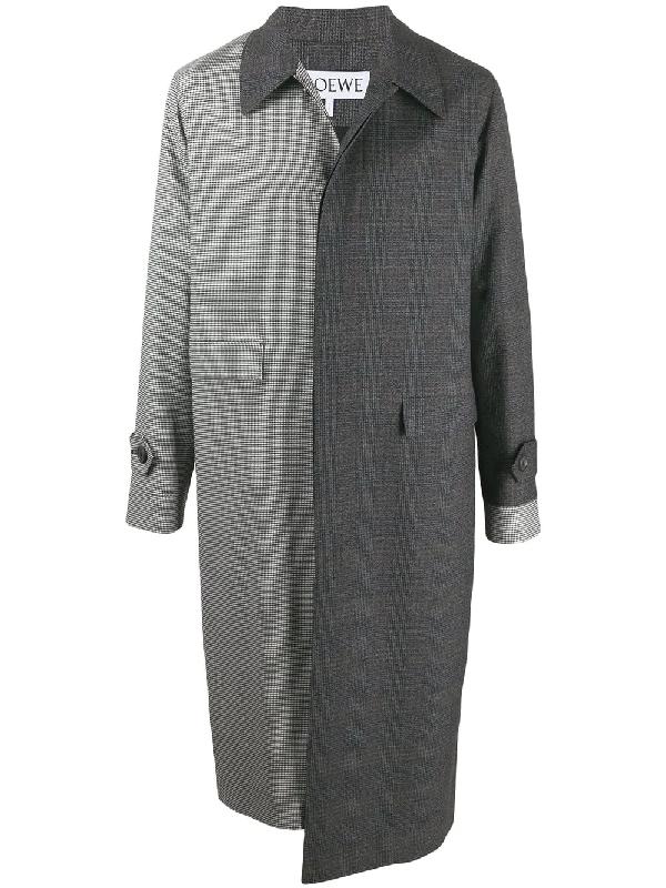 Loewe Asymmetric Checked Wool Coat In Grey
