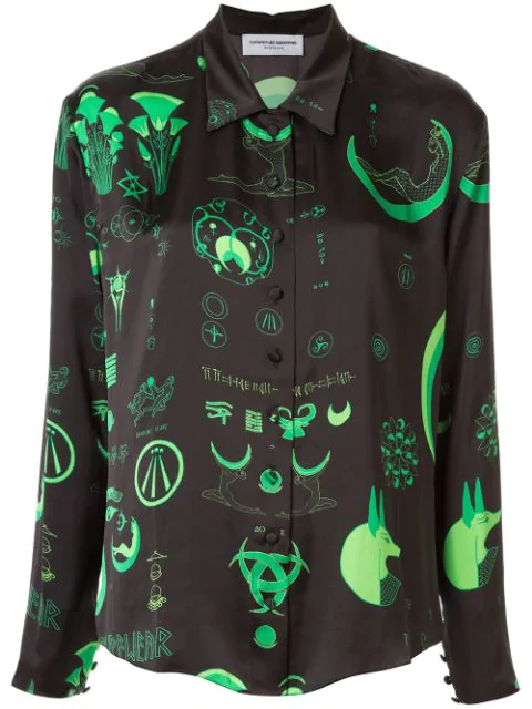 Marine Serre Mystical Print Shirt In Green