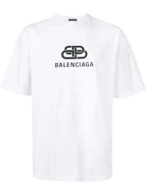 Balenciaga Slim-fit Logo-print Cotton-jersey T-shirt In White/black