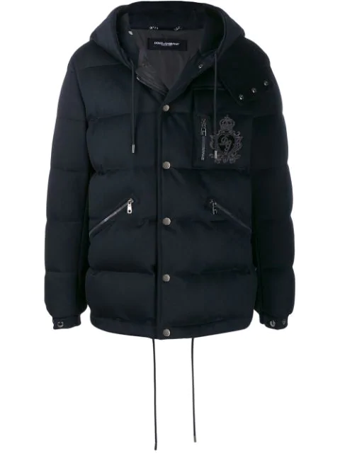 Dolce & Gabbana Quilted Cashmere Jacket With Patch In Blue