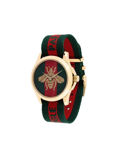 Gucci 38Mm Le Marche Des Merveilles Bee Watch W/ Nylon Web Strap In Red