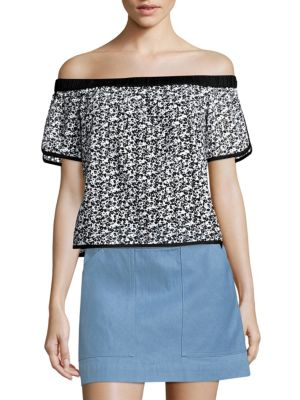 fbdef57f4c85ff Rag   Bone Flavia Eyelet Lace Off-The-Shoulder Short-Sleeve Top In ...