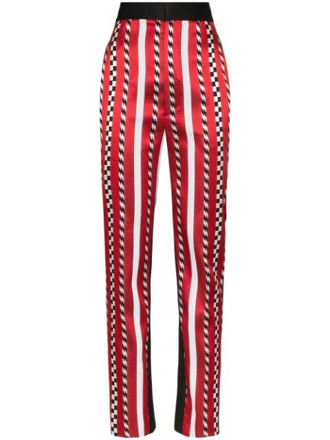Haider Ackermann High-rise Striped Slim-leg Trousers In 026 Black