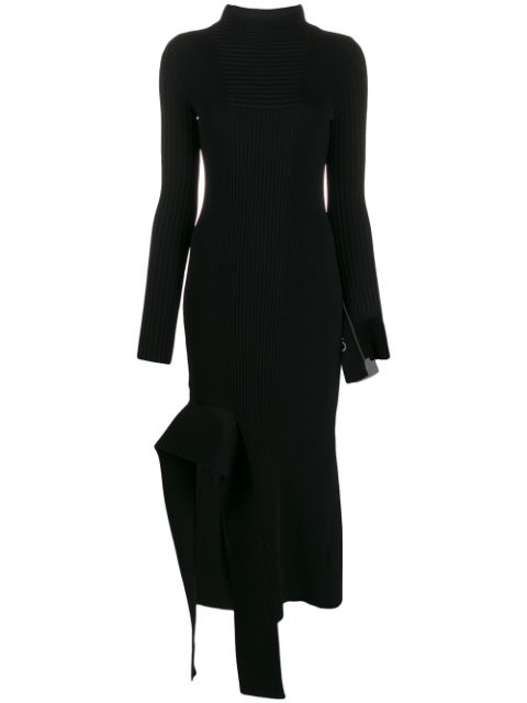 Off-white Knit Long Sleeve Asymmetrical Midi Dress In Black