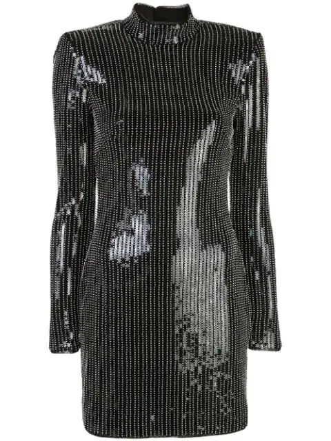 Haney Caterina Open-back Beaded Sequined Jersey Mini Dress In Silver