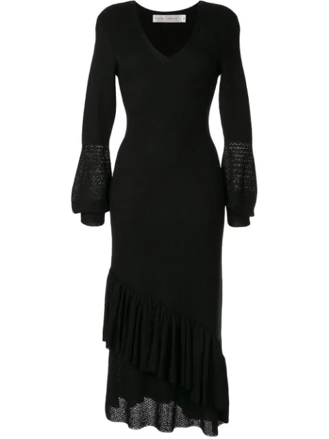 Victoria Beckham V-neck Ruffle Dress In Black