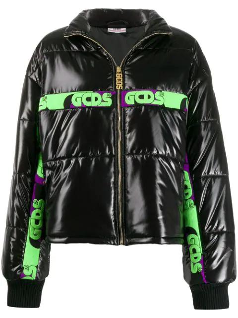 Gcds Logo Stripe Puffer Jacket In Black