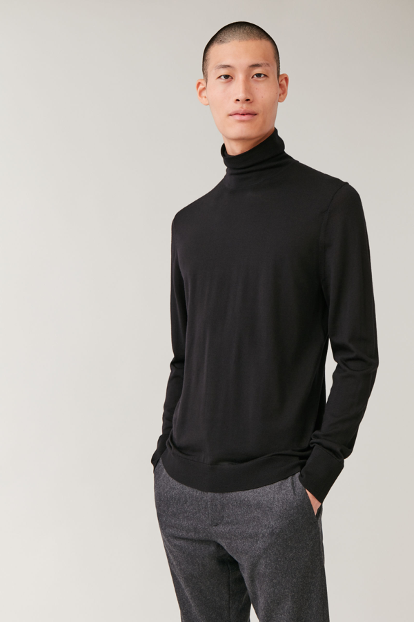 Cos Merino Roll-neck Jumper In Black