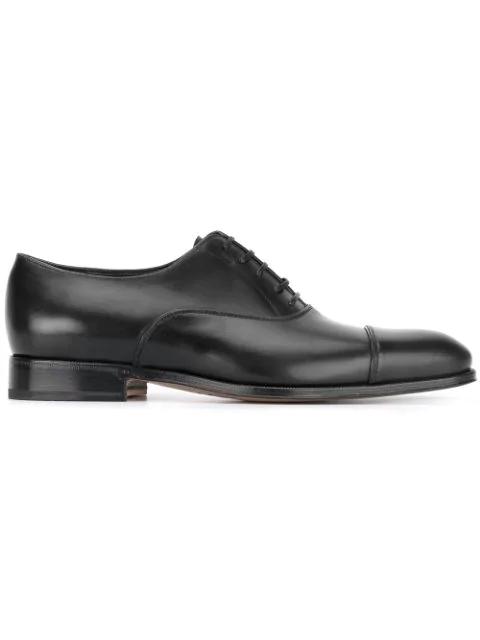 Salvatore Ferragamo Men's Boston Leather Lace-Up Dress Oxford, Black In 002 Noir